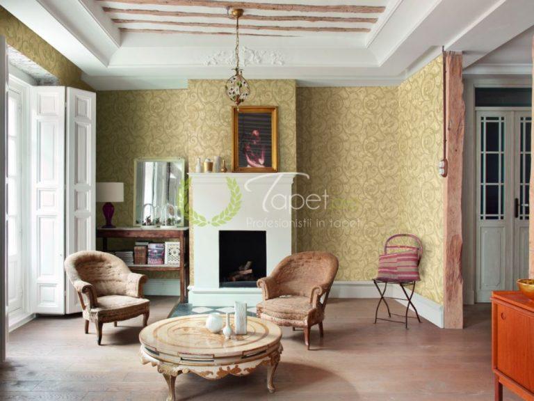 Tapet clasic imprimeu vintage gradina exterioara.