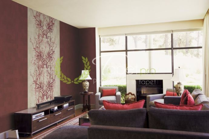 Tapet modern cu aspect stucco venetian visiniu si elemente decorative japoneze.
