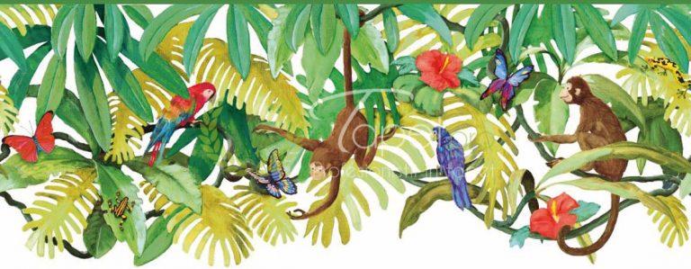 Tapet pentru copii cu tematica de jungla, elemente ilustrative: maimute, papagel, frunze de bananier. Colorat in nuante vii.