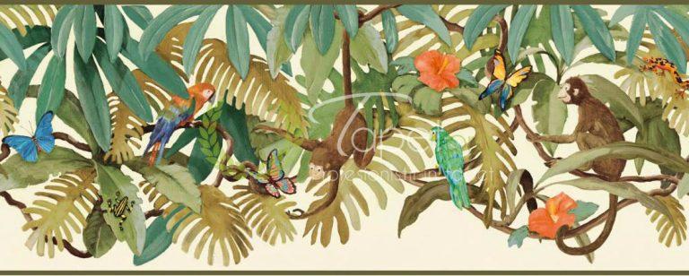 Tapet pentru copii cu tematica de jungla, elemente ilustrative: maimute, papagel, frunze de bananier. Colorat in nuante de maro si poftocaliu.