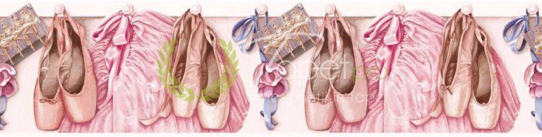 Tapet pentru fetite cu tematica de balet. nuante de roz de lila.