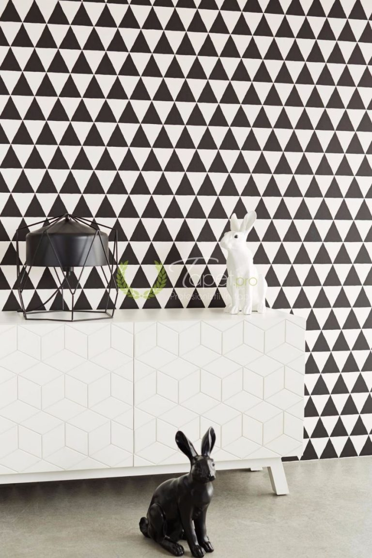 Tapet modern cu triunghiuri in nuante de alb si negru.