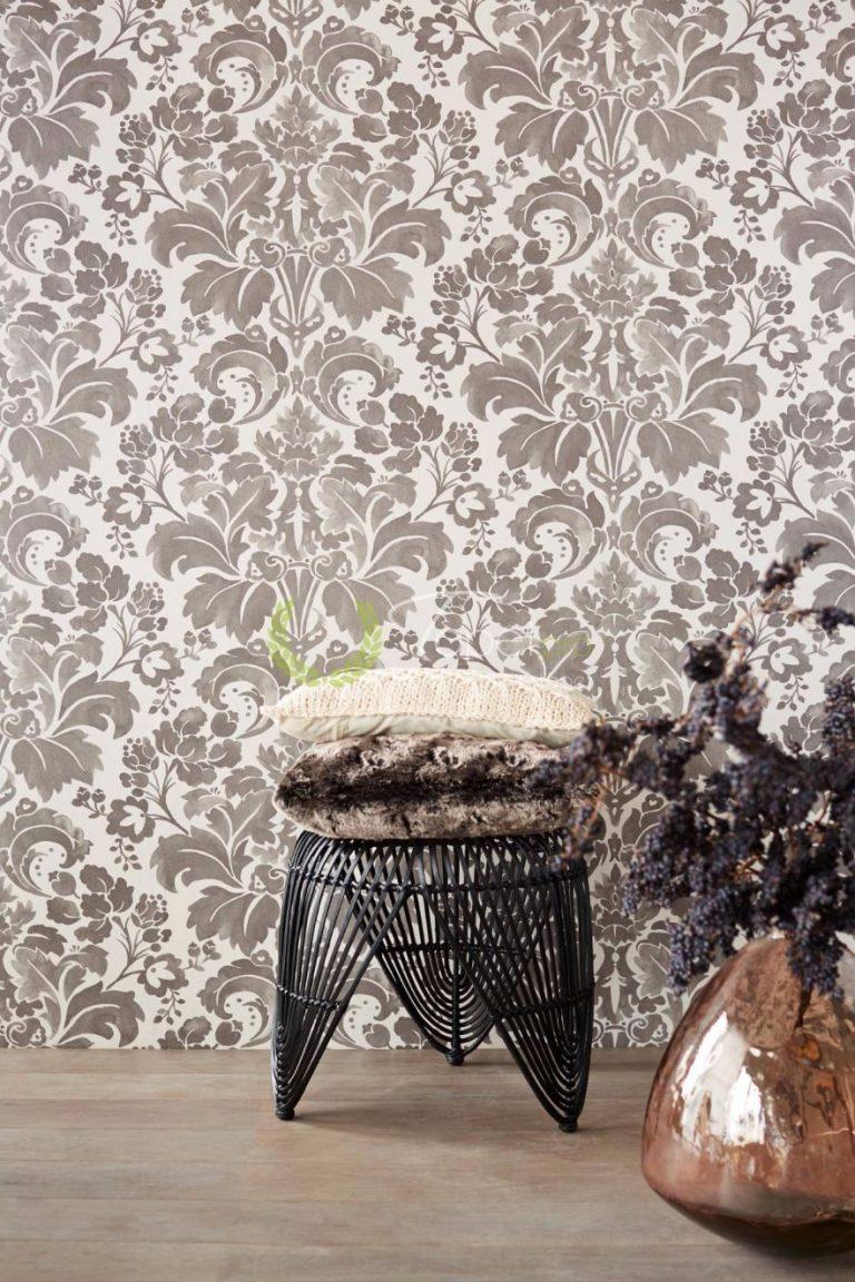 Tapet cu model floral din hartie cu tonuri de gri si fundal alb