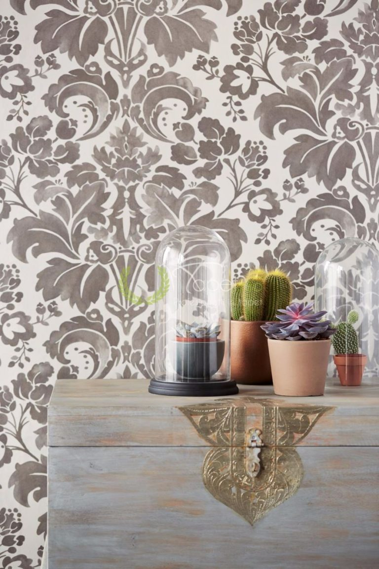 Model floral modernizat in nuanta de gri, tapet din hartie