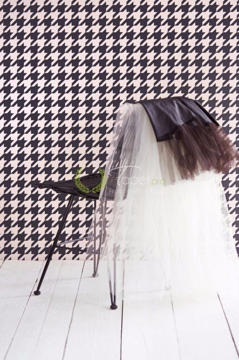 Tapet geometrizat cu forme in relief, alb cu negru.