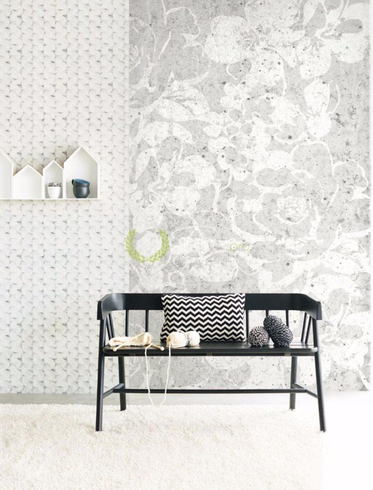 Tapet floral alb stilizat din hartie nuanta gri.