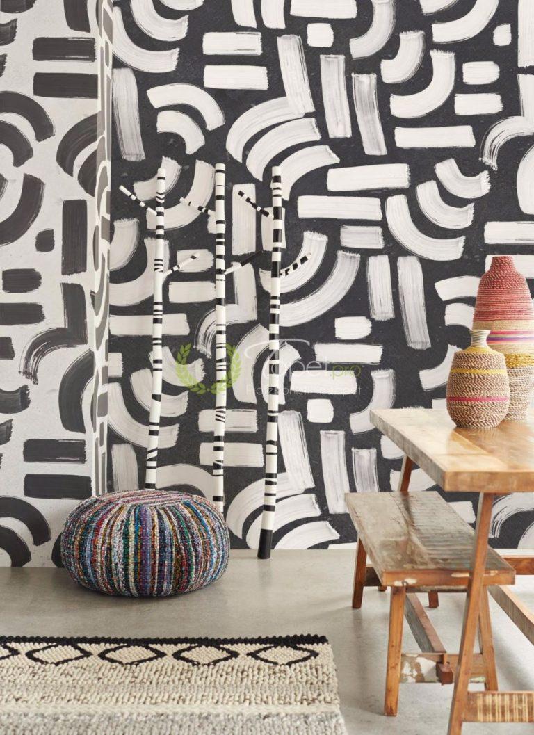 Tapet modern cu linii curbate asimetrice in nuanta de alb cu fundal negru.