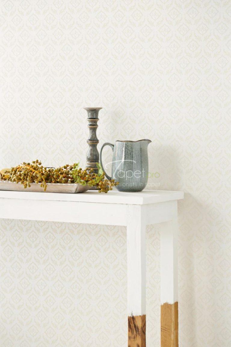 Tapet din vinil crem cu imprimeu floral textural din catifea.
