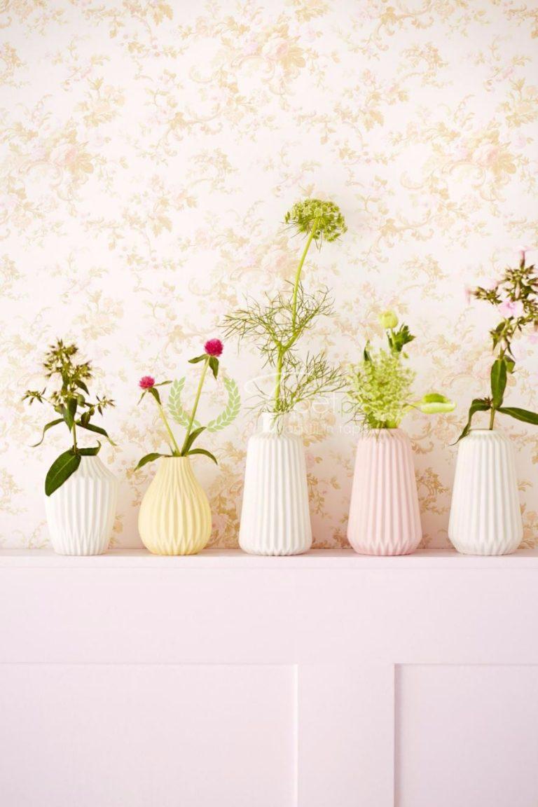 Tapet din vinil cu imprimeu floral usor sidefat - roz pal.