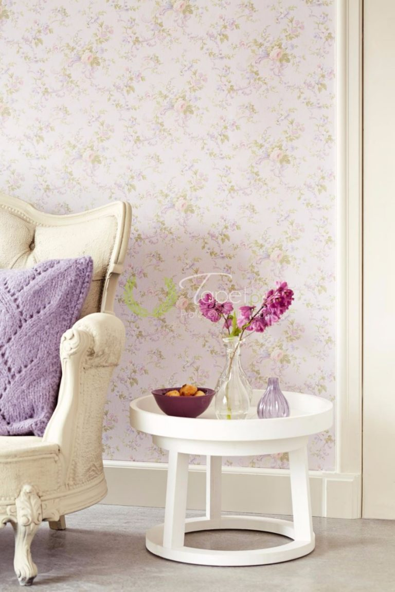 Tapet din vinil cu imprimeu floral nuanta de lila, sidefat.