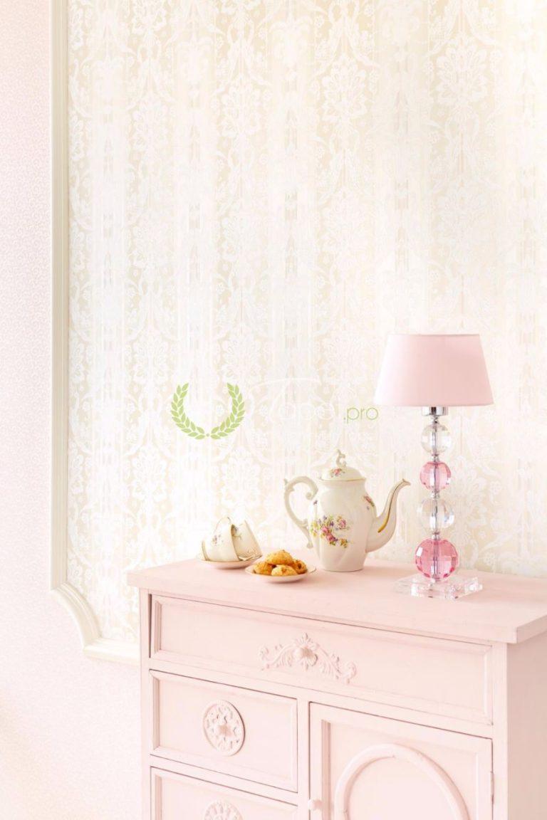 Tapet din vinil cu imprimeu romantic, floral in ton roz pal.