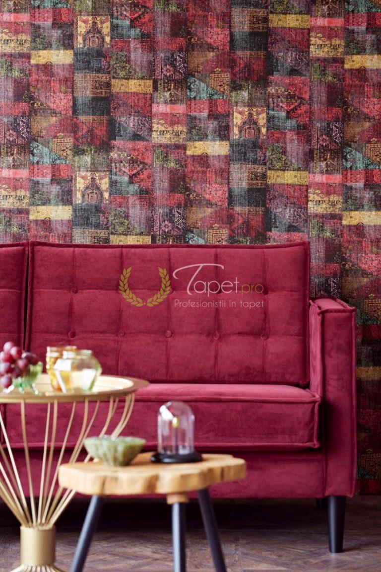 Tapet clasic texturat cu tematica geometrizata, diverse culori.