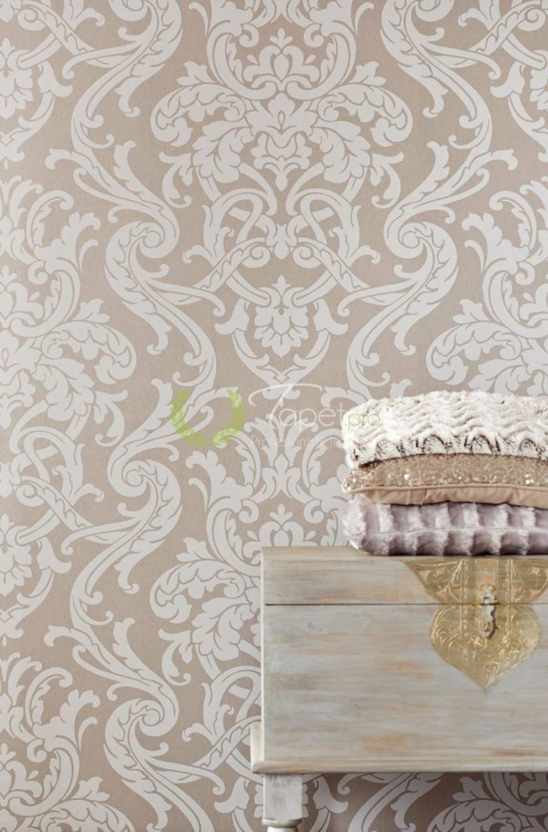 Tapet clasic elegant cu elemente decorative de bej si alb.