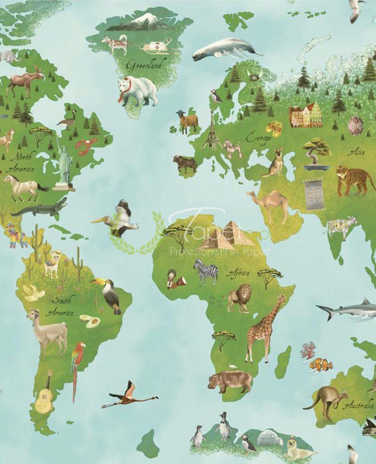 Tapet pentru copii din hartie cu ilustratie - harta lumii cu fundal albastru deschis si verde.