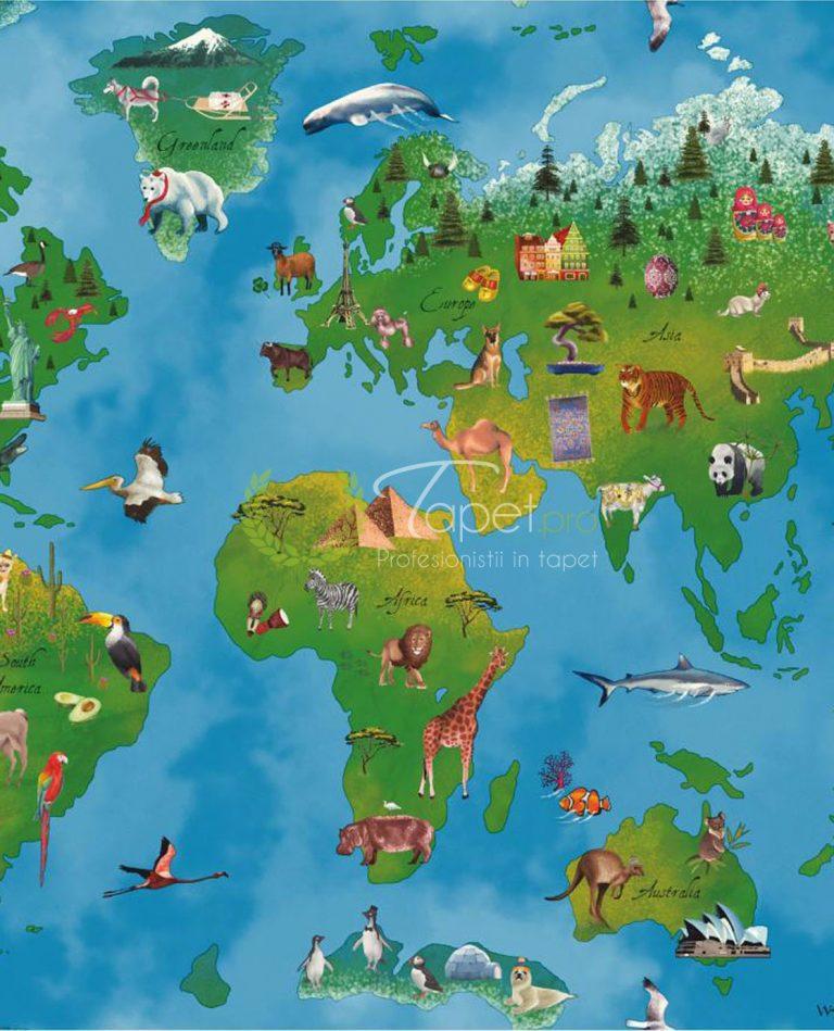 Tapet pentru copii din hartie cu ilustratie - harta lumii cu fundal bleumarin si verde.