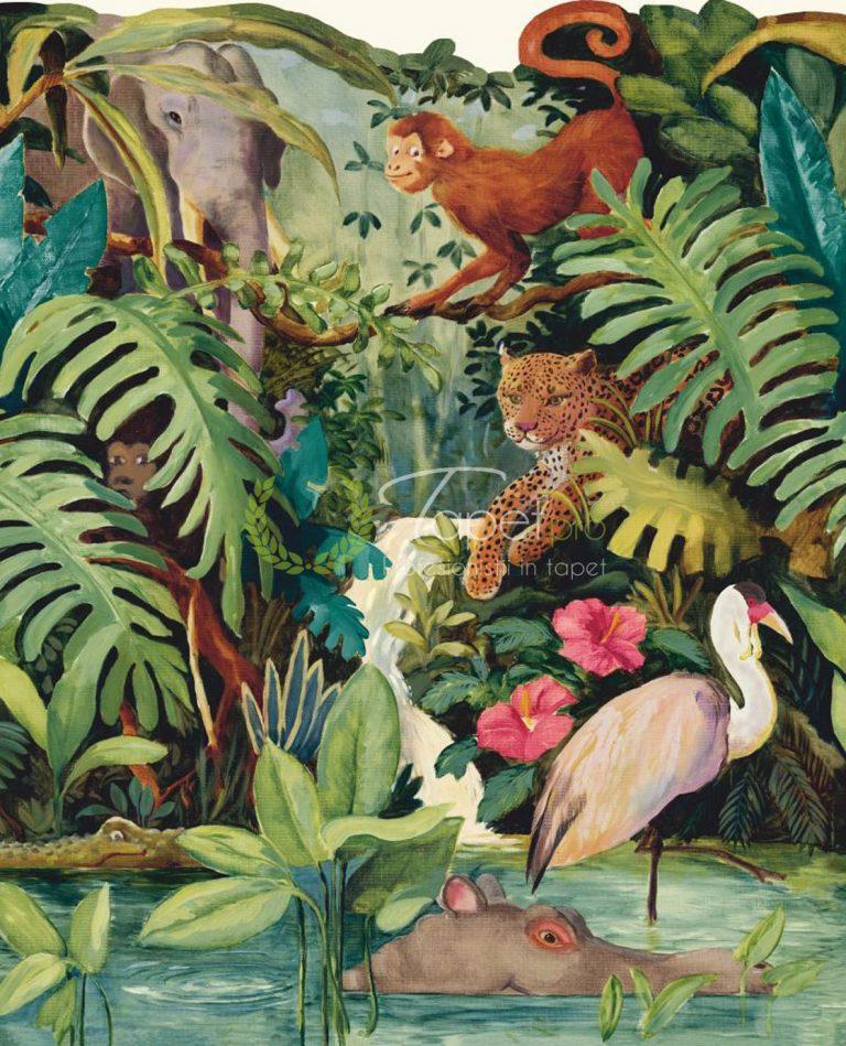 Tapet cu decor floral si animalute din jungla in nuante vesele.