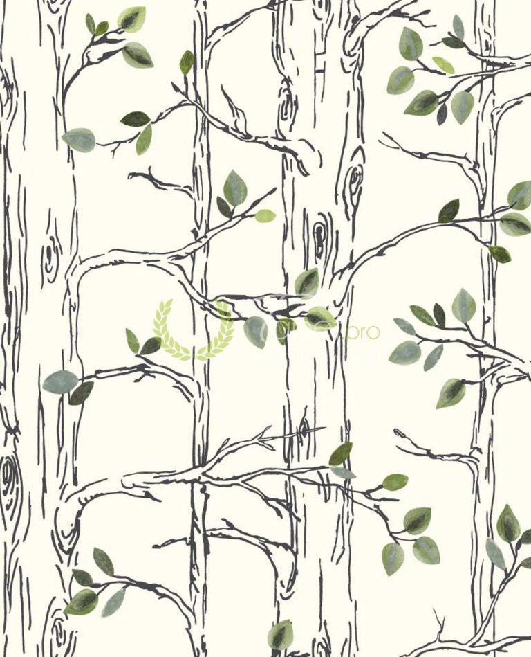 Tapet pentru copii cu elemente decorative natural, frunze verzi si copaci.