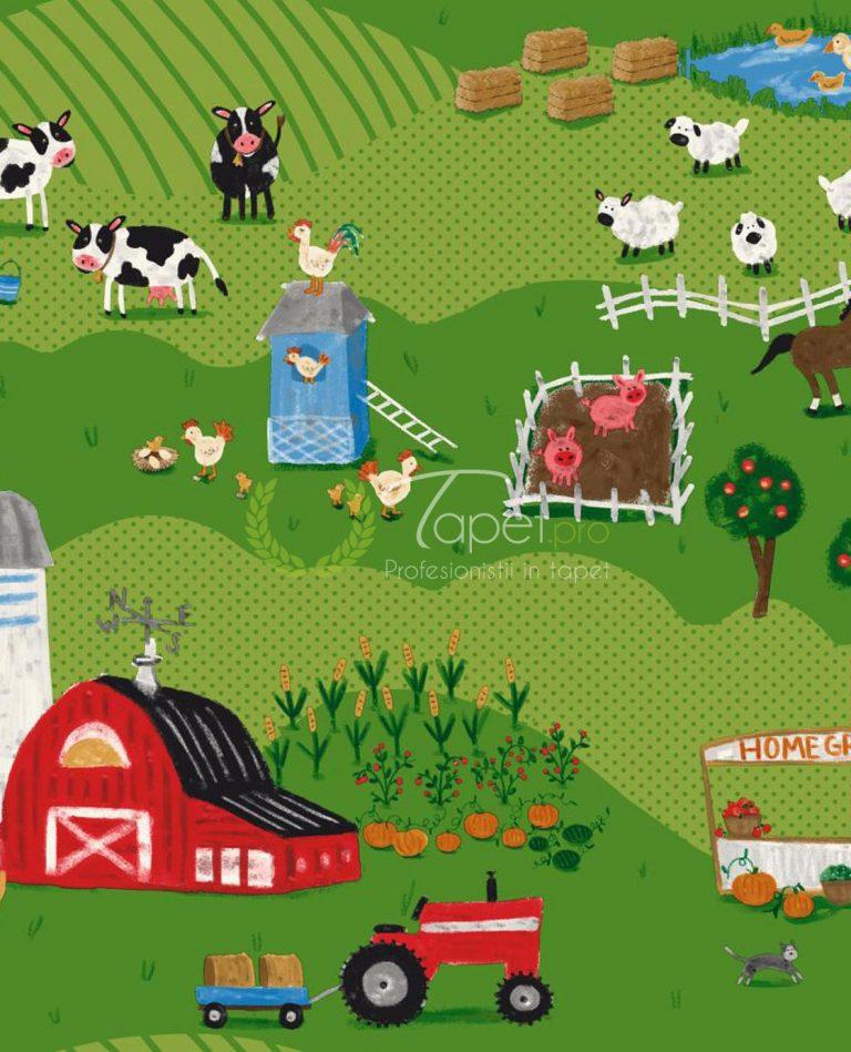 Tapet pentru copii din hartie cu tractorase si animalute domestice in culori vii.