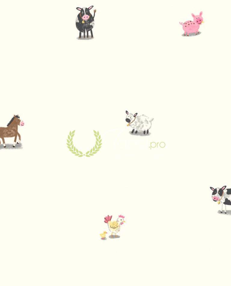 Tapet din hartie pentru copii cu animalute domestice pe fundal alb.