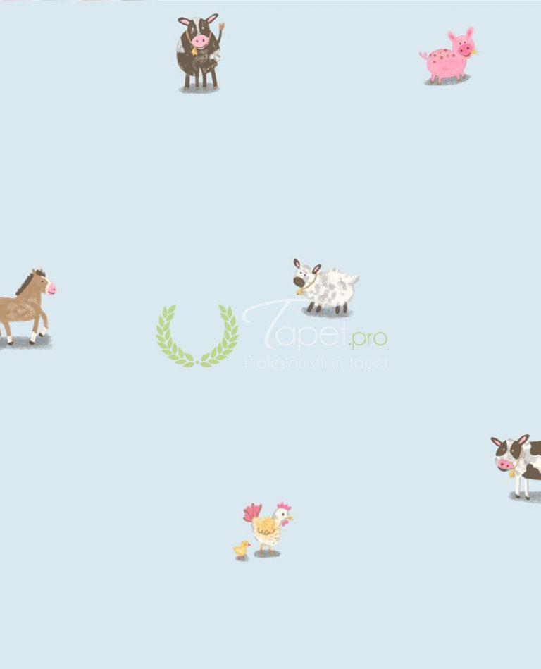 Tapet din hartie pentru copii cu animalute domestice pe fundal albastru.
