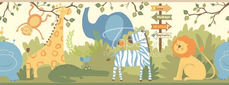 Tapet pentru copii, cu tematica ZOO, in nuante de portocaliu, albastru si verde.