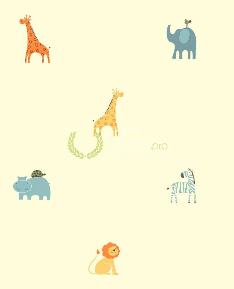 Tapet cu fundal crem si animalute de savana in nuante de albastru, galben si portocaliu.