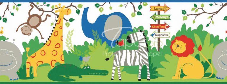 Tapet vesel pentru copii cu animalute de ZOO in culori vii.