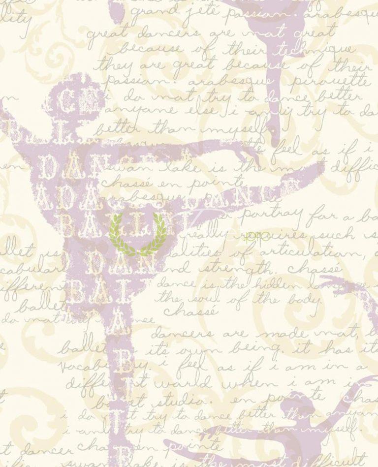 Tapet pentru fetite din hartie cu text incurajator pe fundal de balerina nuanta lila.