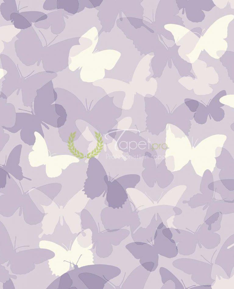 Tapet pentru copii cu nuante de alb si lila cu fluturasi.