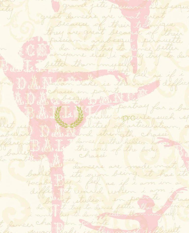 Tapet pentru fetite din hartie cu text incurajator pe fundal de balerina nuanta roz pal.