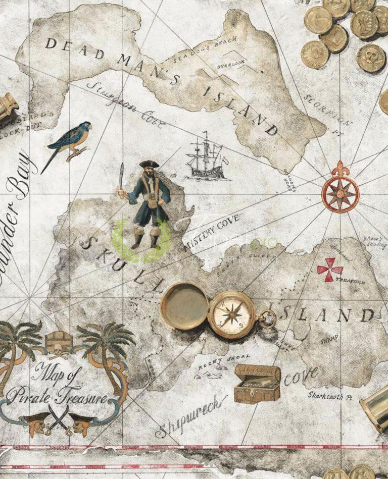Tapet pentru copii, harta lumii cu elemente decorative: busola, papagal, calator, insule. Cu efect de Sepia.
