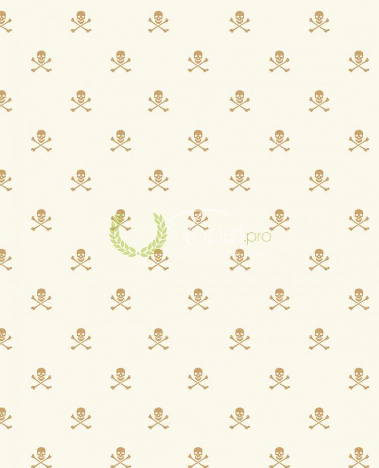 Tapet pentru baieti cu elemente decorative: craniu și oase in incrucisate in nuanta de bej.