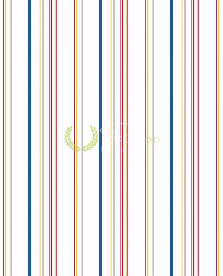 Tapet pentru copii cu dungi inguste verticale: albastru, gri, rosu si portocaliu.