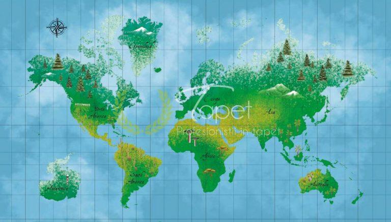 Tapet pentru tineret harta realistica geografica.