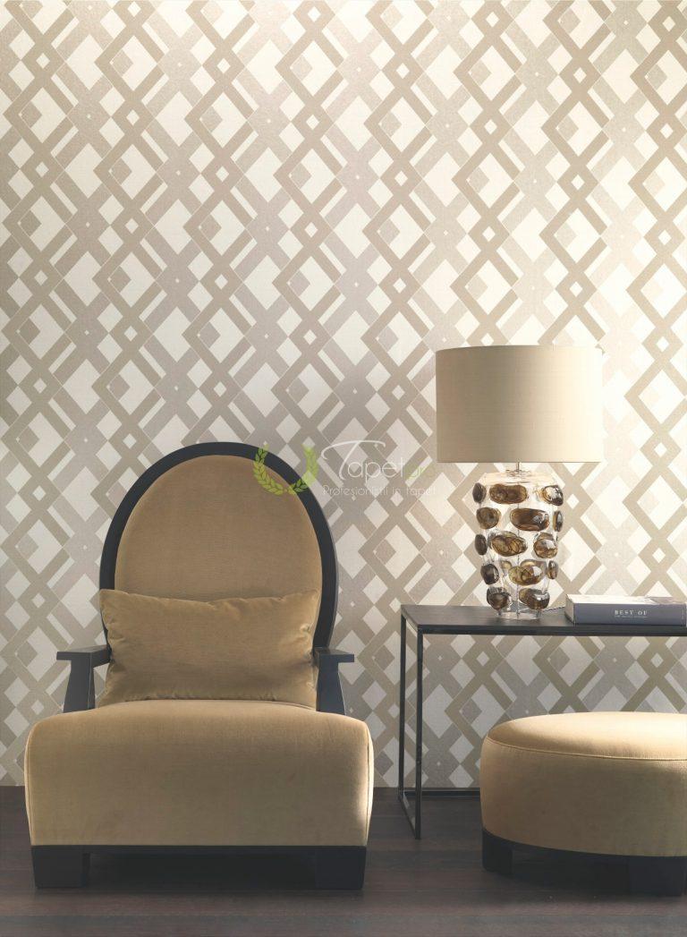 Tapet cu elemente decorative geometrizate alb, bej si gri.