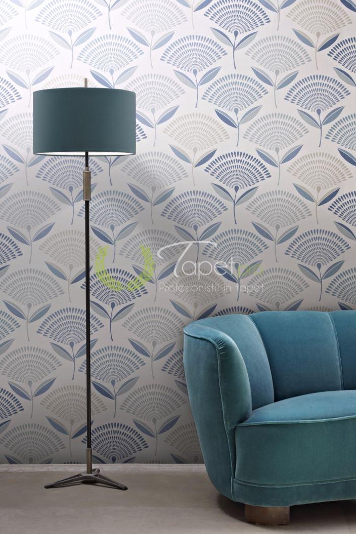 Tapet modern cu insertii florale, forma evantai nuante de crem si albastru.