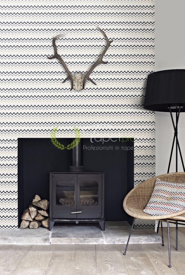 Tapet modern geometrizat cu fundal alb si insertii in degrade in tonuri de gri.