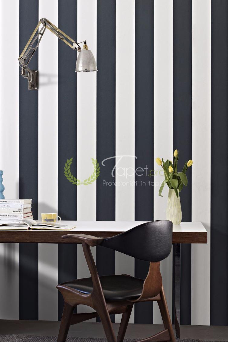 Tapet cu dungi verticale late in ton de alb si negru.