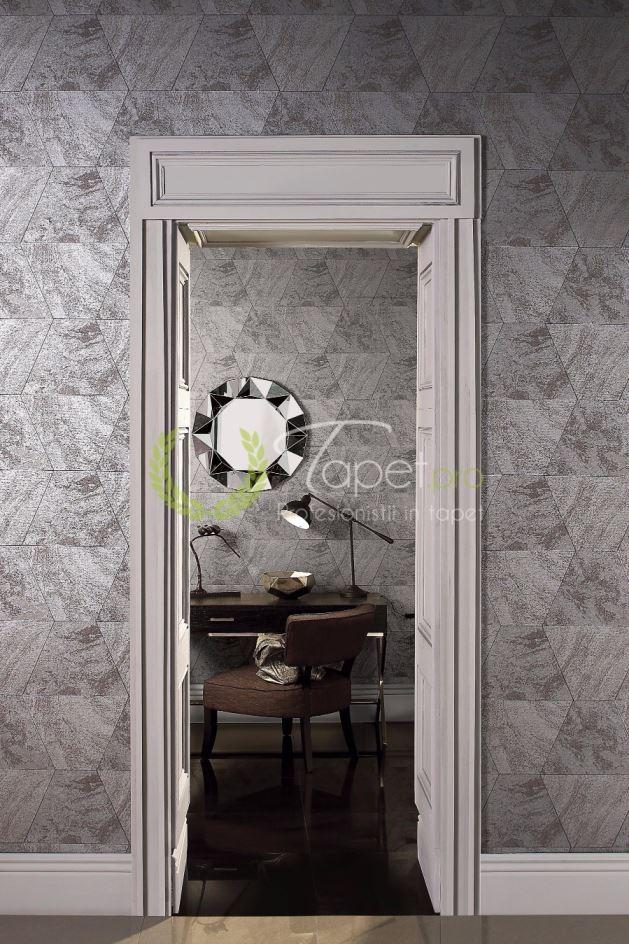 Tapet cu model geometric hexagonal cu aplicatii de sidef argintiu si nuante de gri