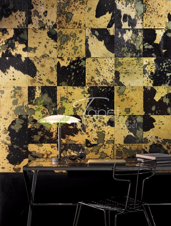 Tapet de lux din piele naturala textura watercolor auriu si negru.