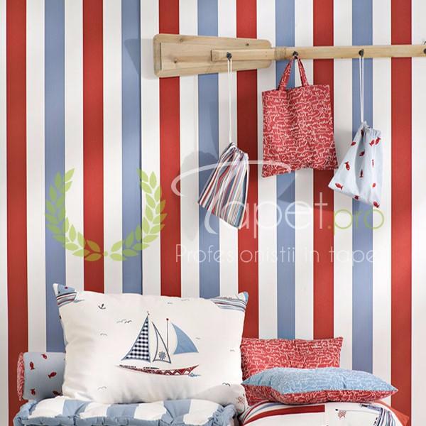 Tapet pentru copii cu tematica marina in nuante de rosu, ablastru si alb.