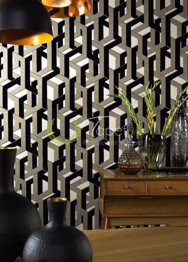 Tapet cu catifea geometrizati in tonuri de gri, negru si alb.
