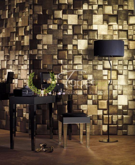 Tapet de lux din piele naturala patrate industriale nuante de auriu.